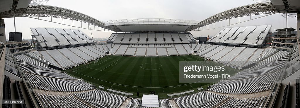 A general overview of the brand new Arena Sao Paulo during the 2014 FIFA World Cup Host City Tour on May 19, 2014 in Sao Paulo, Brazil.