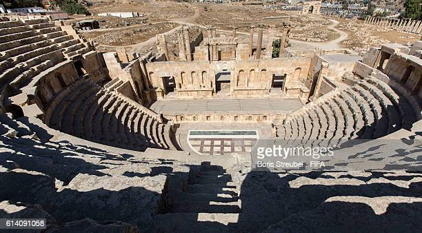 General overview of the North Theatre at the ancient city of Jerash on October 11 2016 north of Amman Jordan