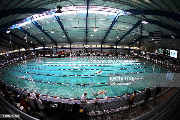 A general overview of the pool during day one of the Arena Pro Swim Series at the YMCA of Central Florida Aquatic Center on March 3 2016 in Orlando...