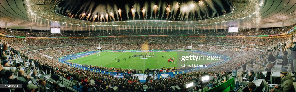 A general panoramic view of fireworks as South Africa lift the trophy following their victory at the end of the 2007 Rugby World Cup Final between...