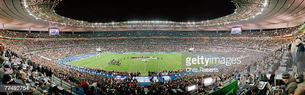 A general panoramic view of the England team recieving their medals during the 2007 Rugby World Cup Final between England and South Africa at the...