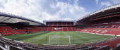 A general panoramic view of the interior of the Old Trafford Stadium home to Manchester United on November 25 2003 in Manchester England