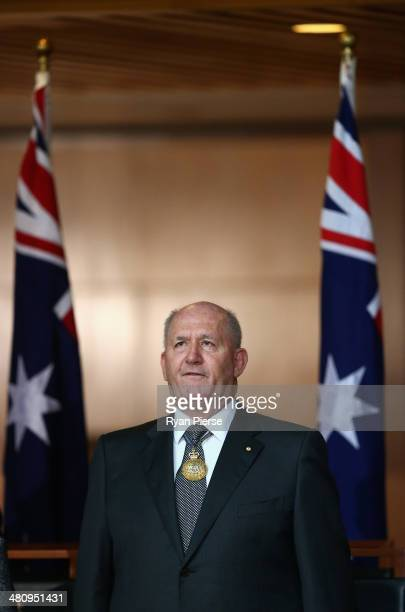 General Peter Cosgrove speaks after being sworn in as Australia's GovernorGeneral at Parliament House on March 28 2014 in Canberra Australia The...