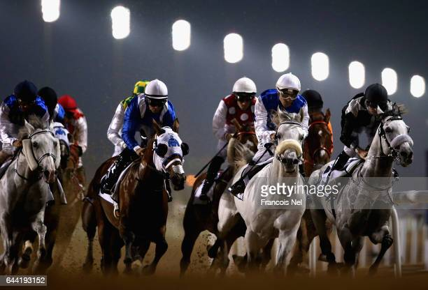 General race action during the Dubai World Cup Carnival at the Meydan Racecourse on February 23 2017 in Dubai United Arab Emirates