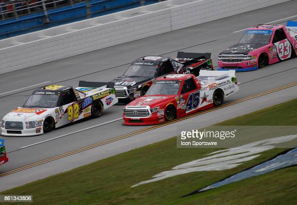 General race action during the Fred's 250 NASCAR Camping World truck race on October 14 at the Talladega Superspeedway in Talladega AL