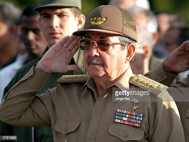 General Raul Castro Minister of the Revolutionary Armed Forces of Cuba attends a ceremony to mark Cuban Martyrs Day December 7 2003 in El Cacahual...