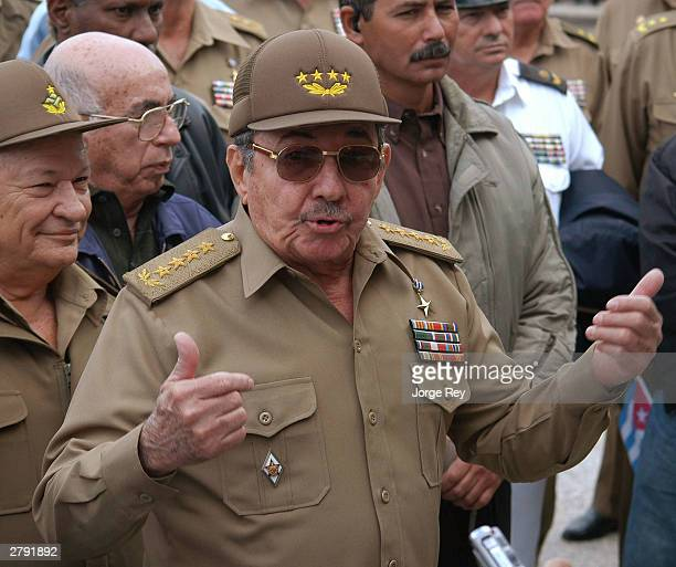 General Raul Castro Minister of the Revolutionary Armed Forces of Cuba speaks to the news media on Cuban Martyrs Day December 7 2003 in El Cacahual...