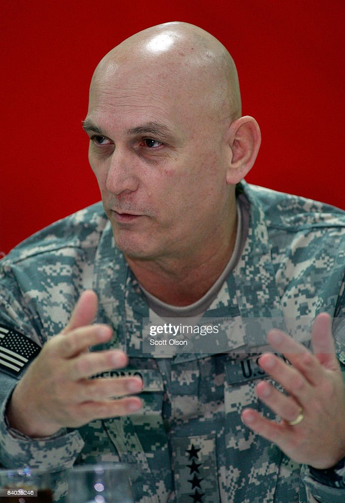 General Ray Odierno, commander of multi-national forces Iraq, speaks with the press prior to meeting with U.S. Defense Secretary Robert Gates at Joint Base Balad December 13, 2008 in Balad, Iraq. Gates stopped in Iraq to wrap up a four-day tour of the Middle East where he met with regional commanders and talked with troopss.