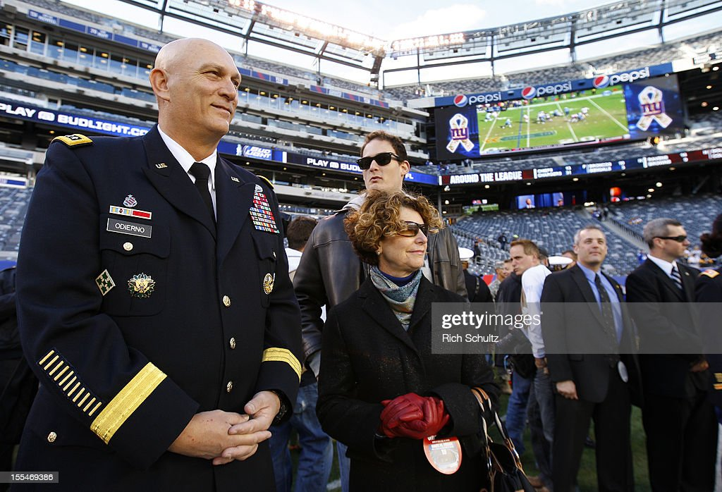 General Raymond T. Odierno, Chief of Staff of the Army watches pre game warm ups before the start of an NFL game between the Pittsburgh Steelers and the New York Giants at MetLife Stadium on November 4, 2012 in East Rutherford, New Jersey.