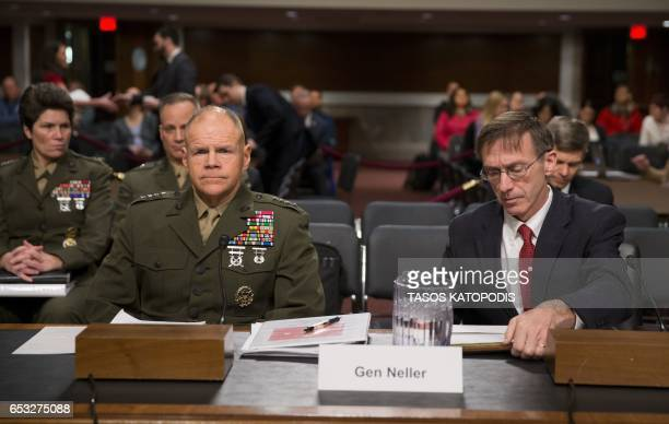 General Robert Neller and Secretary Sean Stackley attend the Senate Armed Services Committee on information surrounding the Marines United Website at...