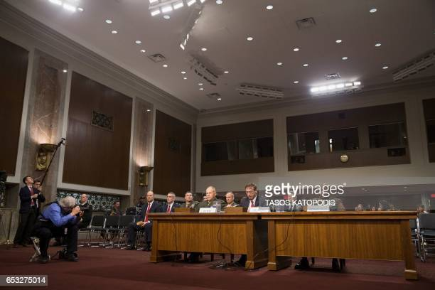 General Robert Neller Secretary Sean Stackley and SGT Major MC Green attend the Senate Armed Services Committee on information surrounding the...