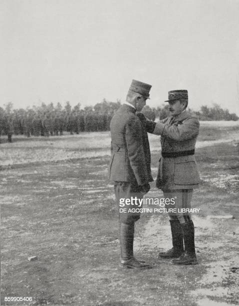 General Robert Nivelle pinning a medal on the Duke of Aosta Emanuele Filiberto World War I from L'Illustrazione Italiana Year XLIV No 6 February 11...