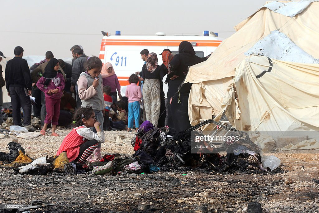 A general scene of the aftermath of a fire which broke out in Al Zaatari camp for Syrian refugees on March 8 2013 in Zaatari Jordan No refugees were...