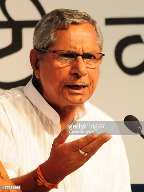 General Secretary and incharge of Madhya Pradesh Mohan Prakash addressing a press conference in connection with Vyapam scam on July 7 2015 in Bhopal...