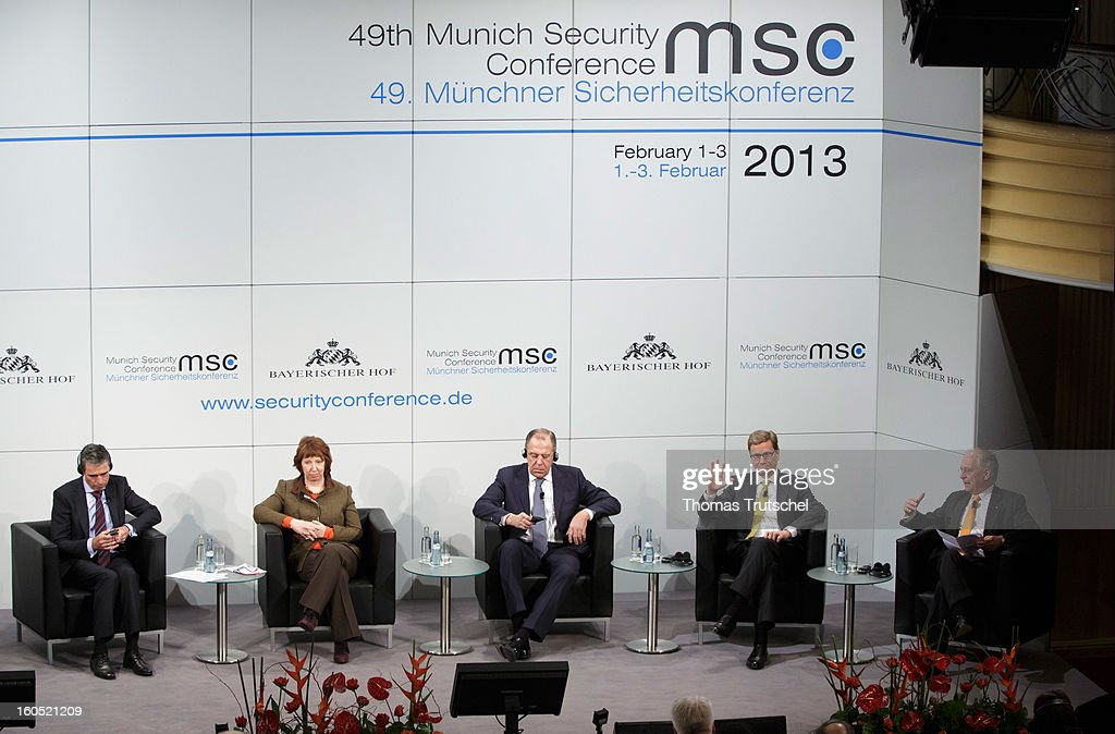 General Secretary Anders Fogh Rasmussen, EU's Foreign Policy Chief Catherine Ashton, Russian Foreign Minister Sergej Lawrow, German Foreign Minister Guido Westerwelle, and Wolfgang Ischinger, organizer of the 49th Munich Security Conference participate in a panel discussion during day 2 of the 49th Munich Security Conference at Hotel Bayerischer Hof on February 2, 2013 in Munich, Germany. The Munich Security Conference brings together senior figures from around the world to engage in an intensive debate on current and future security challenges and remains the most important independent forum for the exchange of views by international security policy decision-makers.