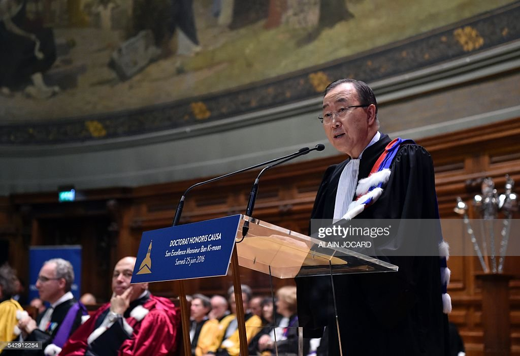UN general secretary Ban Ki-Moon (R) delivers a speech after being awarded as 'doctor honoris causa' at La Sorbonne French University on June 25, 2016, in Paris. UN Secretary General Ban Ki-moon said Friday he expects the European Union to remain a solid partner for the United Nations after Britain's decision to leave the bloc. 'The Secretary-General expects the European Union to continue to be a solid partner for the United Nations on development and humanitarian issues, as well as peace and security, including migration,' Ban said in a statement. JOCARD