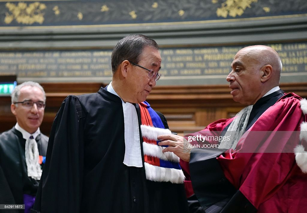 UN general secretary Ban Ki-Moon (C), is awarded as 'doctor honoris causa' by La Sorbonne President Georges Haddad, at La Sorbonne French University on June 25, 2016, in Paris . UN Secretary General Ban Ki-moon said Friday he expects the European Union to remain a solid partner for the United Nations after Britain's decision to leave the bloc. 'The Secretary-General expects the European Union to continue to be a solid partner for the United Nations on development and humanitarian issues, as well as peace and security, including migration,' Ban said in a statement. JOCARD