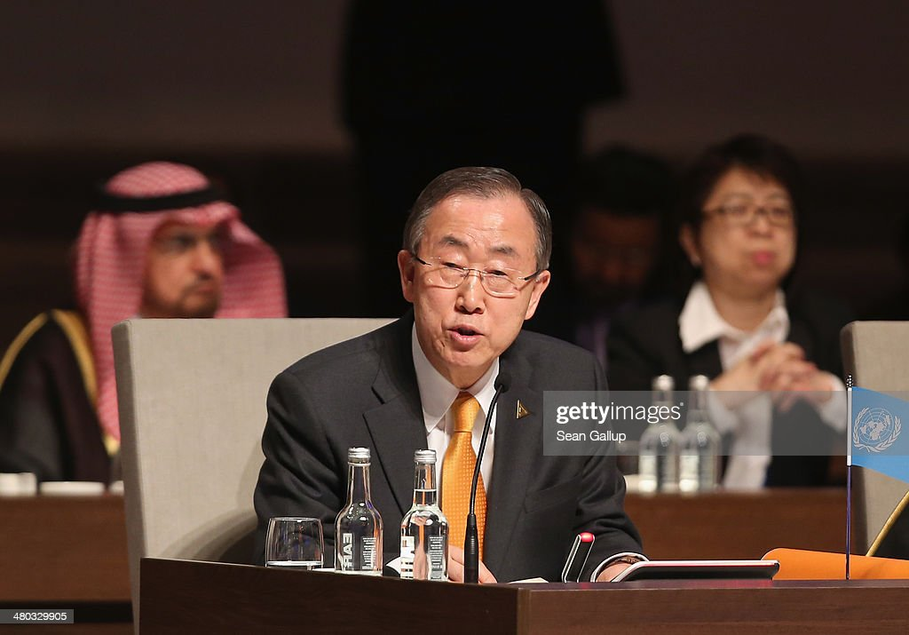 U.N. General Secretary Ban Ki-moon (C) speaks at the opening plenary session of the 2014 Nuclear Security Summit on March 24, 2014 in The Hague, Netherlands. Leaders from around the world have come to discuss matters related to international nuclear security, though the summit is overshadowed by recent events in Ukraine. The leaders of the G7 nations will hold a short G7 summit tonight.