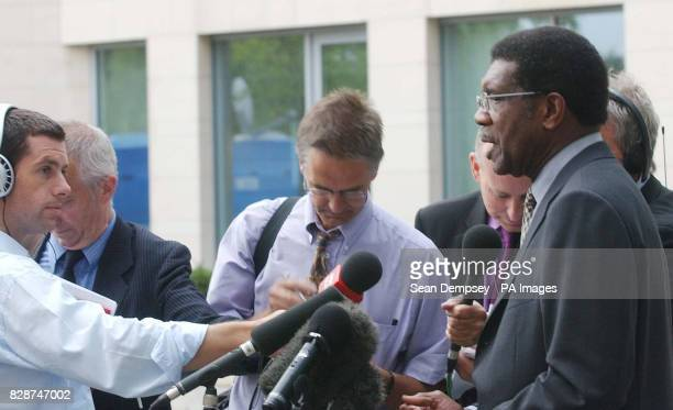 TGWU general secretary Bill Morris talks to reporters after leaving British Airways HQ at the Waterside Heathrow after his meeting with BA chief...