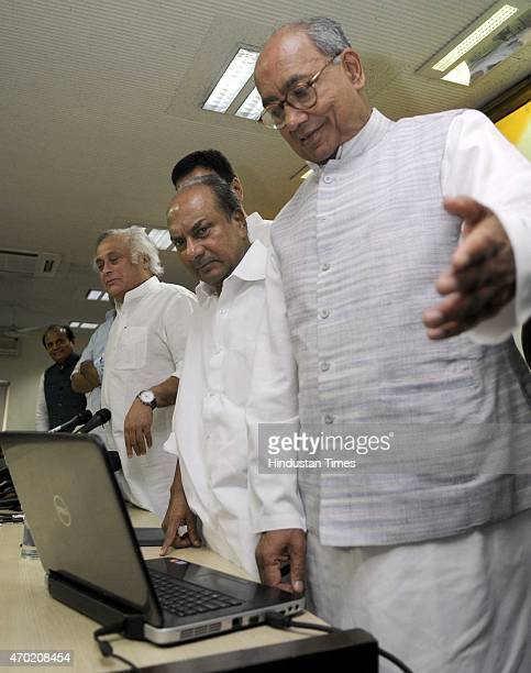General Secretary Digvijay Singh Former Defence Minister A K Antony Senior Congress leader Jairam Ramesh and Rita Bahuguna after launching the...