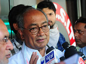 AICC general secretary Digvijaya Singh speaks during a press conference at Indian coffee house on May 24 2015 in Bhopal India Singh who has been a...