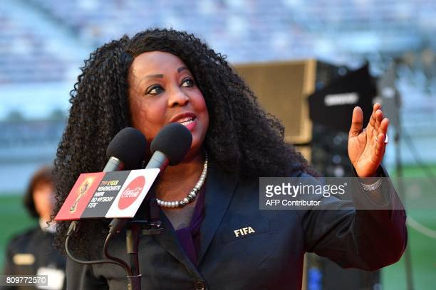 FIFA general secretary Fatma Samoura speaks during the FIFA World Cup Trophy Tour Route announcement ceremony at Luzhniki stadium in Moscow on July 6...