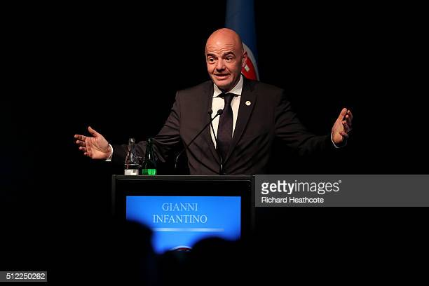 General Secretary Gianni Infantino addresses the UEFA XI Extraordinary Congress at the Swissotel on February 25 2016 in Zurich Switzerland FIFA will...