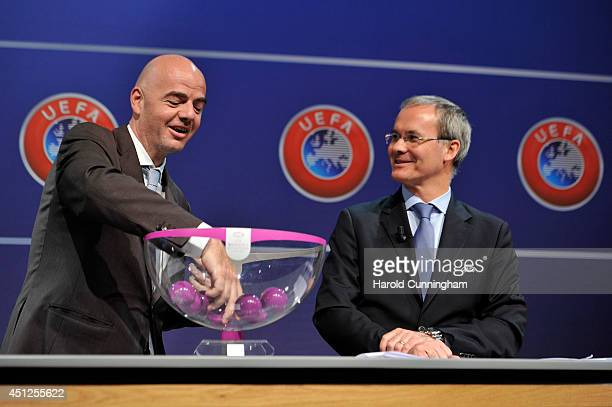 General Secretary Gianni Infantino and UEFA Competition Director Giorgio Marchetti proceed to the UEFA 2014/15 Women's Champions League Qualifying...