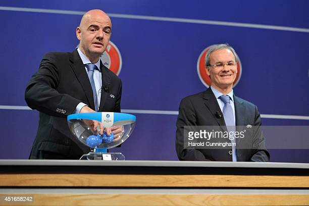 General Secretary Gianni Infantino and UEFA Competition Director Giorgio Marchetti proceed to the UEFA 2014/15 Futsal Cup Preliminary and Main Round...