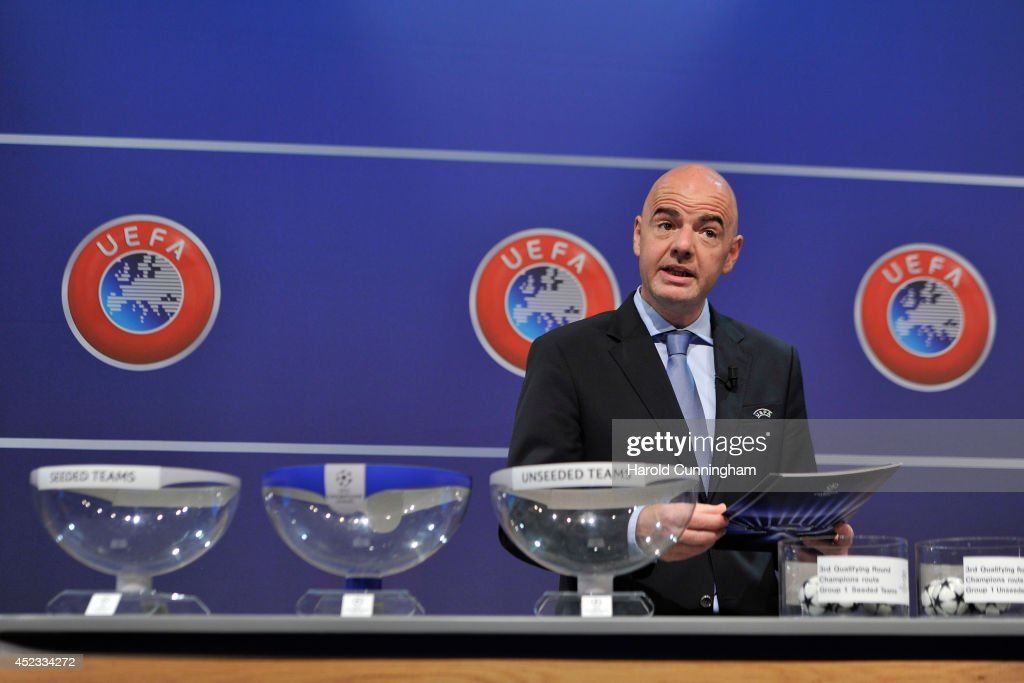 General Secretary Gianni Infantino proceeds to the UEFA 2014/15 Champions League third qualifying rounds draw at the UEFA headquarters, The House of European Football, on July 18, 2014 in Nyon, Switzerland.