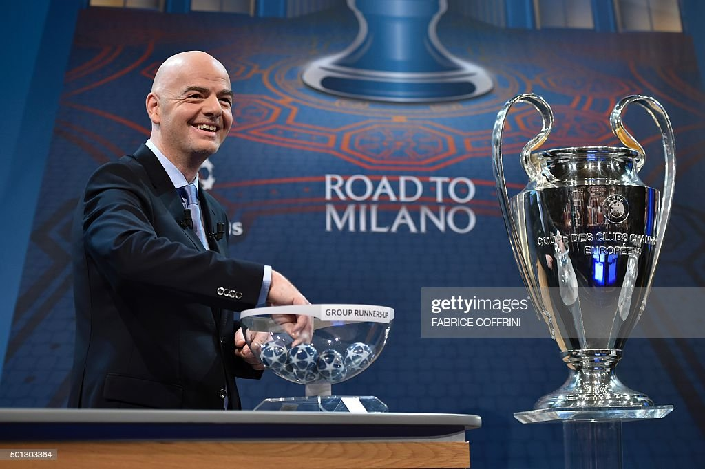 General Secretary Gianni Infantino takes part in the draw for the UEFA Champions league round of sixteen, on December 14, 2015 at the European football organization's headquarters in Nyon.