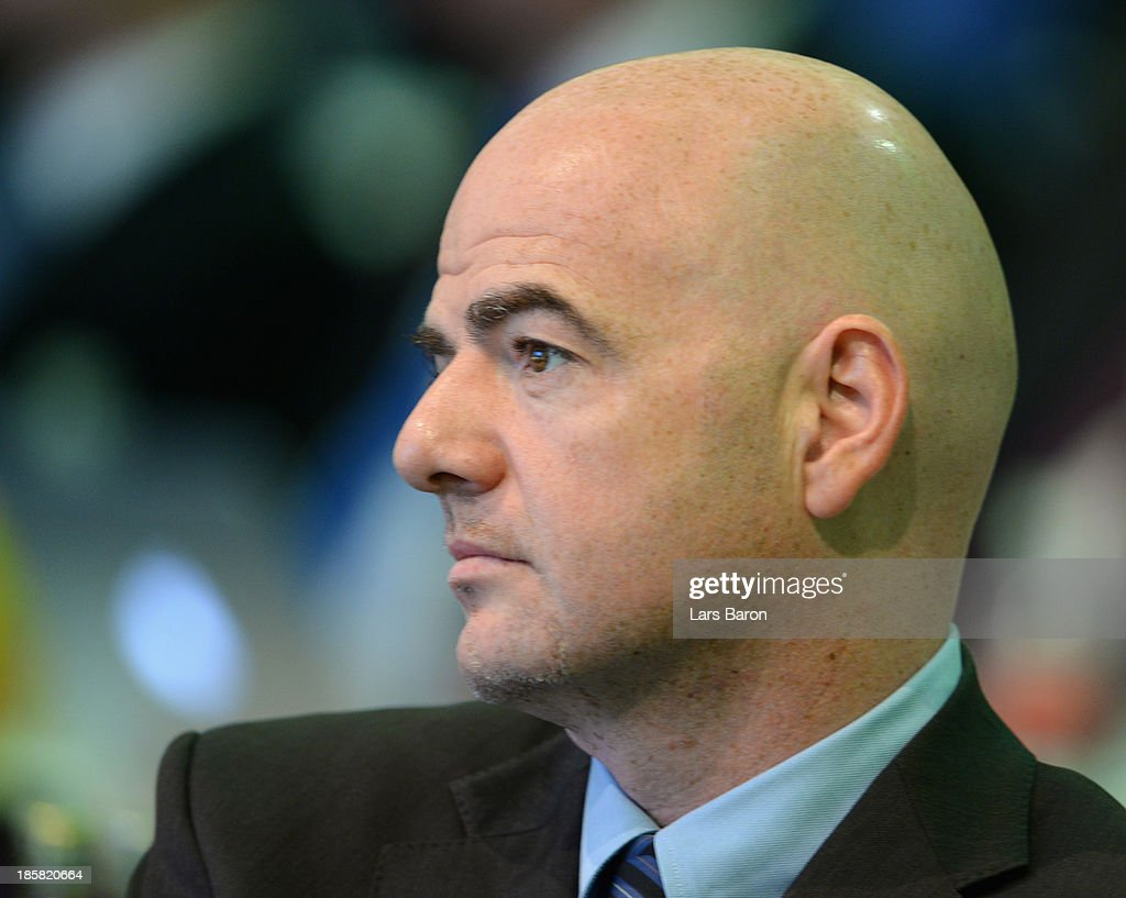 UEFA general secretary Giovanni Infantino looks on during the DFB Bundestag Day 2 at NCC Nuremberg on October 25, 2013 in Nuremberg, Germany.