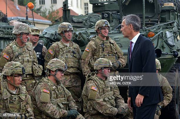 General Secretary Jens Stoltenberg talks with US soldiers part of the military Convoy crossing the Czech Republic on September 9 2015 on PragueRuzyne...