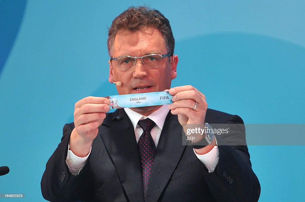 General Secretary Jerome Valcke draws England on March 25 ,2013 during the FIFA U-20 World Cup Turkey 2013 group E draw in istanbul. The FIFA U-20 World Cup will be held in Turkey between June 21 and July 13.