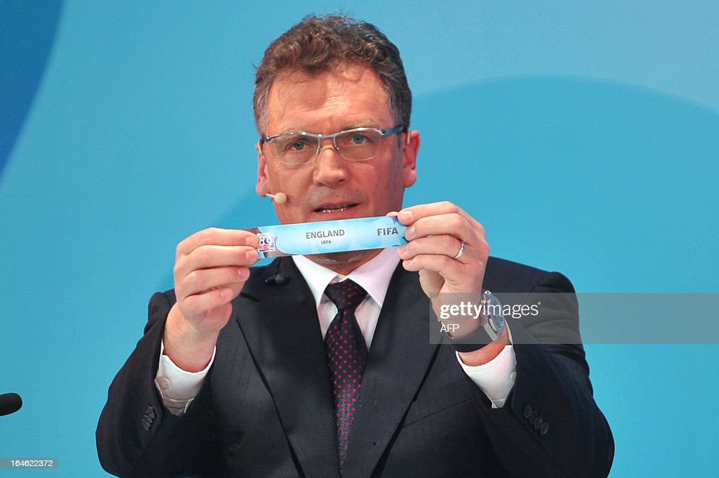 General Secretary Jerome Valcke draws England on March 25 ,2013 during the FIFA U-20 World Cup Turkey 2013 group E draw in istanbul. The FIFA U-20 World Cup will be held in Turkey between June 21 and July 13. KOSE