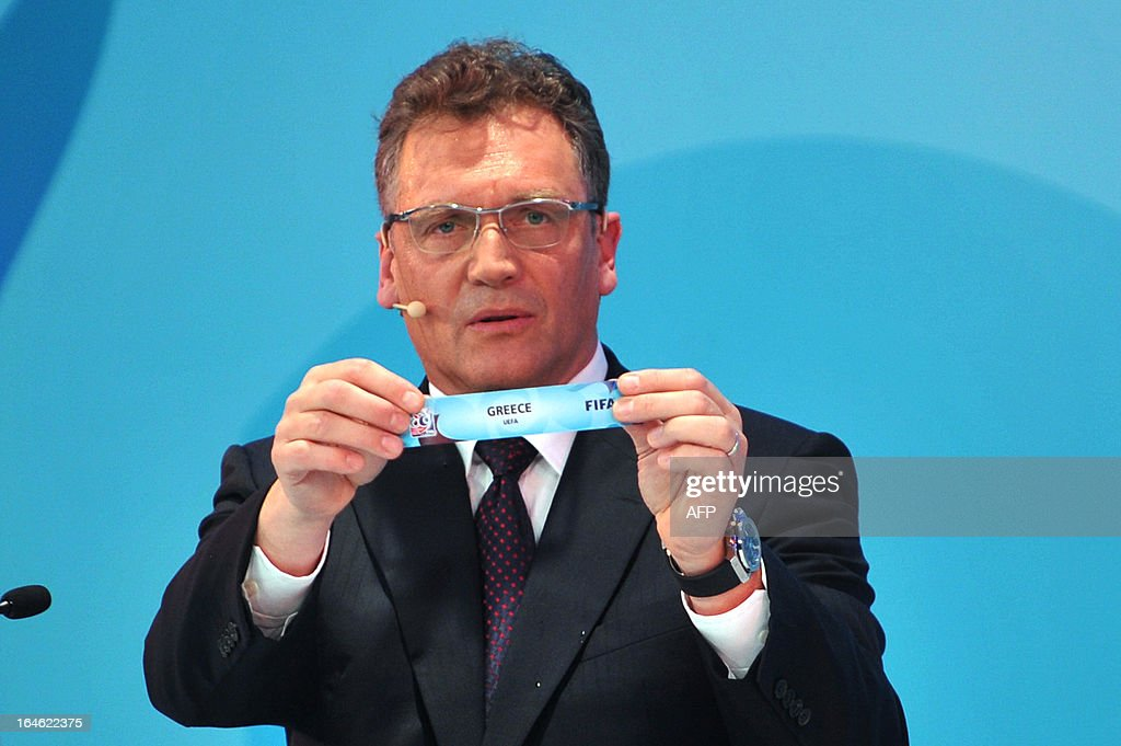 General Secretary Jerome Valcke draws Greece on March 25 ,2013 during the FIFA U-20 World Cup Turkey 2013 group D draw in istanbul. The FIFA U-20 World Cup will be held in Turkey between June 21 and July 13.