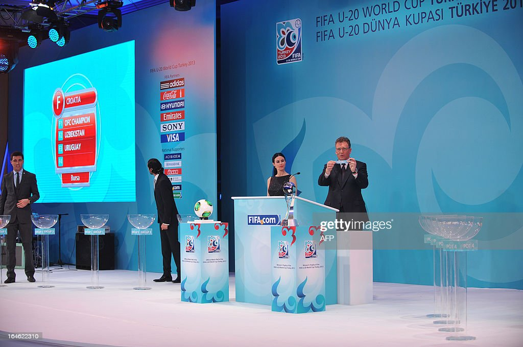 General Secretary Jerome Valcke (R) draws Group F teams on March 25 ,2013 during the FIFA U-20 World Cup Turkey 2013 draw in istanbul. The FIFA U-20 World Cup will be held in Turkey between June 21 and July 13.