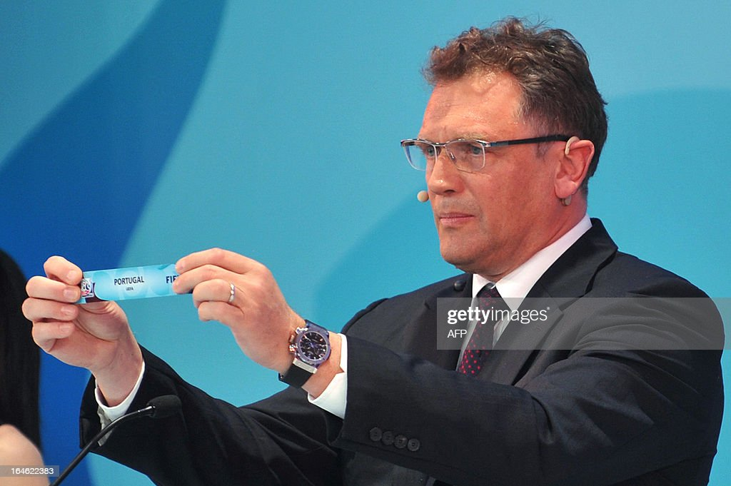 General Secretary Jerome Valcke draws Portugal on March 25 ,2013 during the FIFA U-20 World Cup Turkey 2013 group B draw in istanbul. The FIFA U-20 World Cup will be held in Turkey between June 21 and July 13.