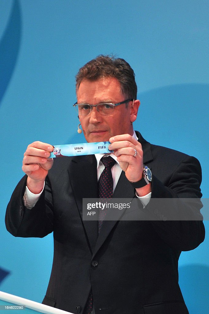 General Secretary Jerome Valcke draws Spain on March 25 ,2013 during the FIFA U-20 World Cup Turkey 2013 group A draw in istanbul. The FIFA U-20 World Cup will be held in Turkey between June 21 and July 13.