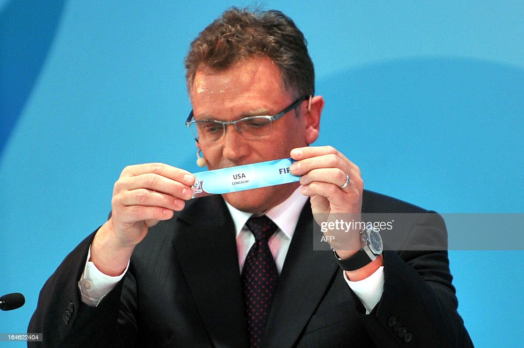 General Secretary Jerome Valcke draws USA on March 25 ,2013 during the FIFA U-20 World Cup Turkey 2013 group A draw in istanbul. The FIFA U-20 World Cup will be held in Turkey between June 21 and July 13.