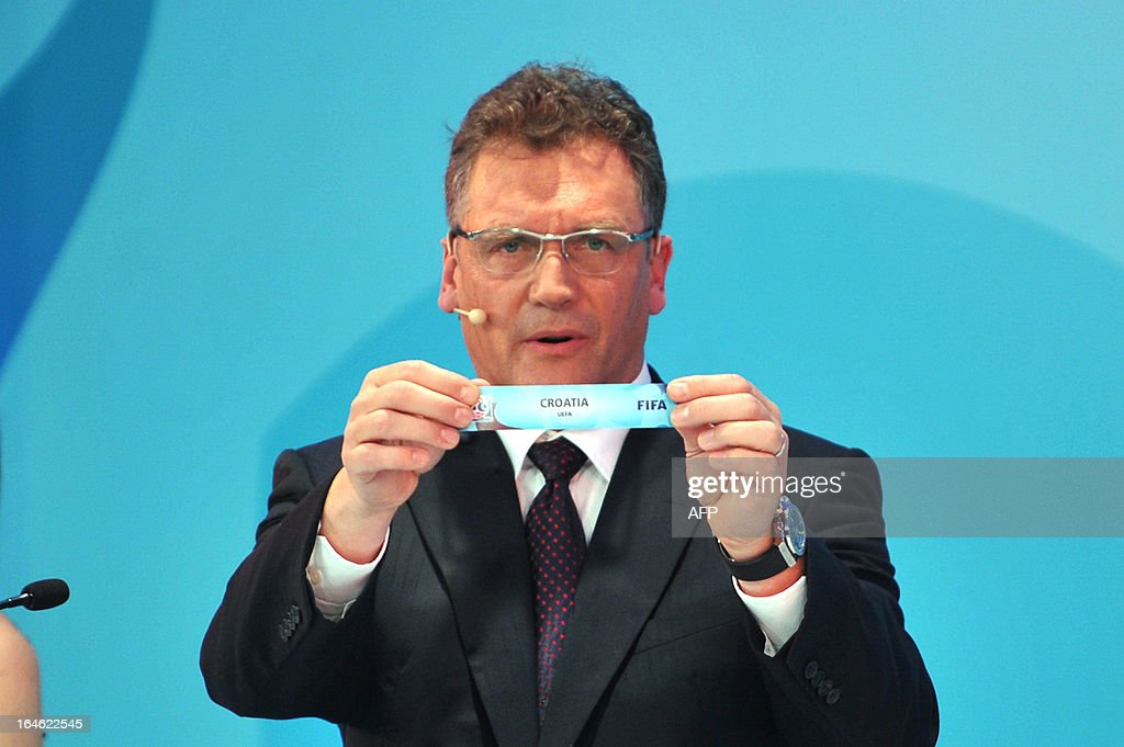 General Secretary Jerome Valcke draws USA on March 25 ,2013 during the FIFA U-20 World Cup Turkey 2013 group F draw in istanbul. The FIFA U-20 World Cup will be held in Turkey between June 21 and July 13.