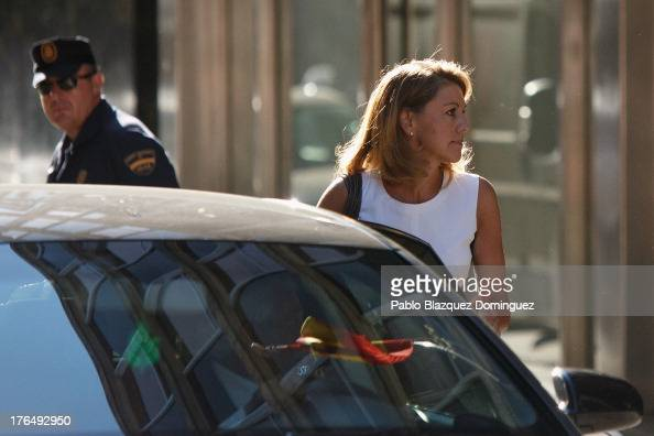 General Secretary Maria Dolores de Cospedal arrives at the Spanish High Court on August 14 2013 in Madrid Spain High Court judge Pablo Ruz called...
