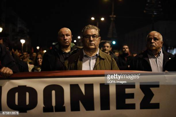 General Secretary of Communist Party of Greece Dimitris Koutsoumbas seen during the demonstration for the Polytechnic Uprising Anniversary Thousands...
