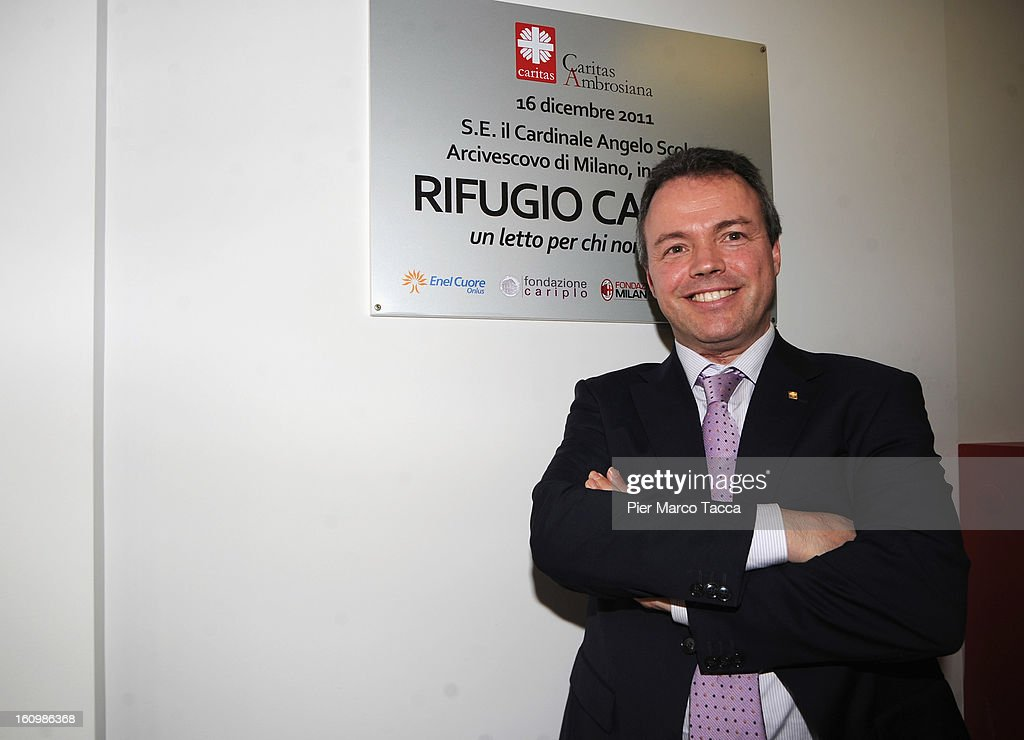 General Secretary of Europe Caritas Jorge Nuno Mayer attends a press conference before the visit to Caritas Ambrosiana shelter on February 8, 2013 in Milan, Italy. Caritas is a night refuge for the homeless and is situated under the platforms of the central station.