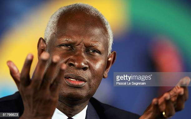 General Secretary of International Organization for Francophonie Abdou Diouf gestures during a press conference at the end of the 10th Francophonie...