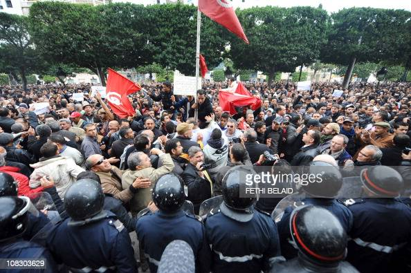 General secretary of PDP opposition political party Maya Jeridi shouts slogans in front tof he interior ministry in Habib Bourguiba avenue in Tunis...