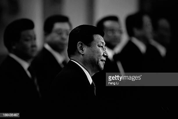 General Secretary of the Central Committee of the Communist Party of China Xi Jinping delivers a speech as Liu Yunshan Zhang Dejiang Li Keqiang Yu...