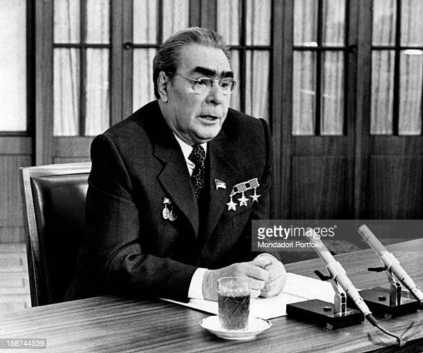 General Secretary of the Central Committee of the Communist Party of the Soviet Union Leonid Ilyich Brezhnev photographed during a press conference...
