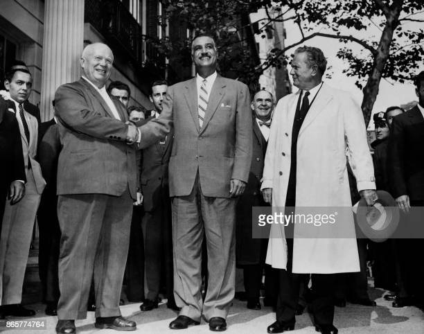 General Secretary of the Central Committee of the Communist Party of the Soviet Union Nikita Khrushchev shakes hand with President of Egypt Gamal...