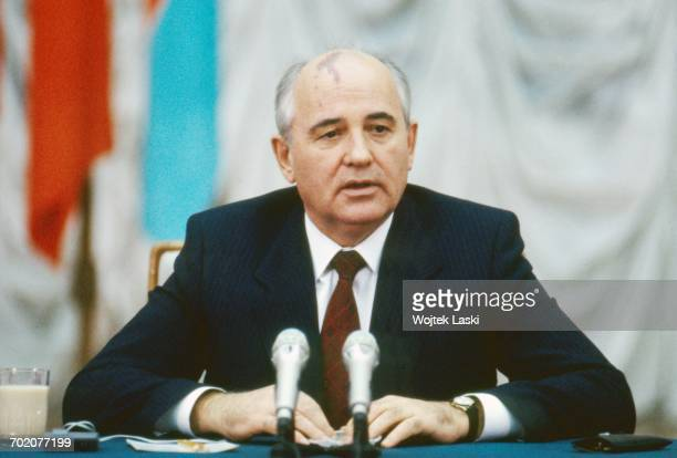 General Secretary of the Communist Party of the Soviet Union Mikhail Gorbachev during French President Francois Mitterrand's visit to the Soviet...